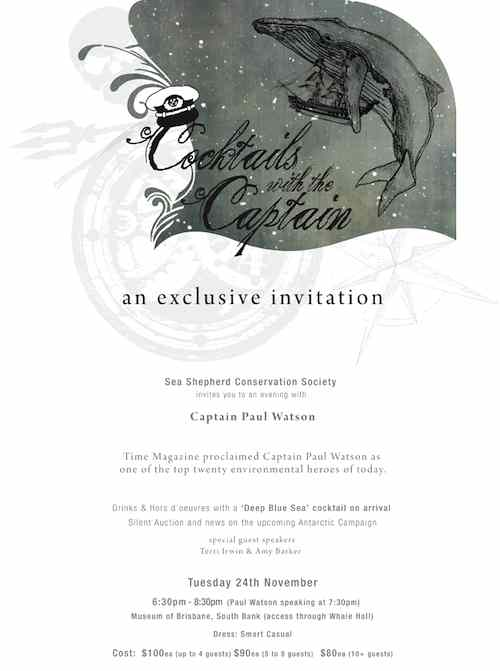 Sea Shepherd Cocktails Invitation